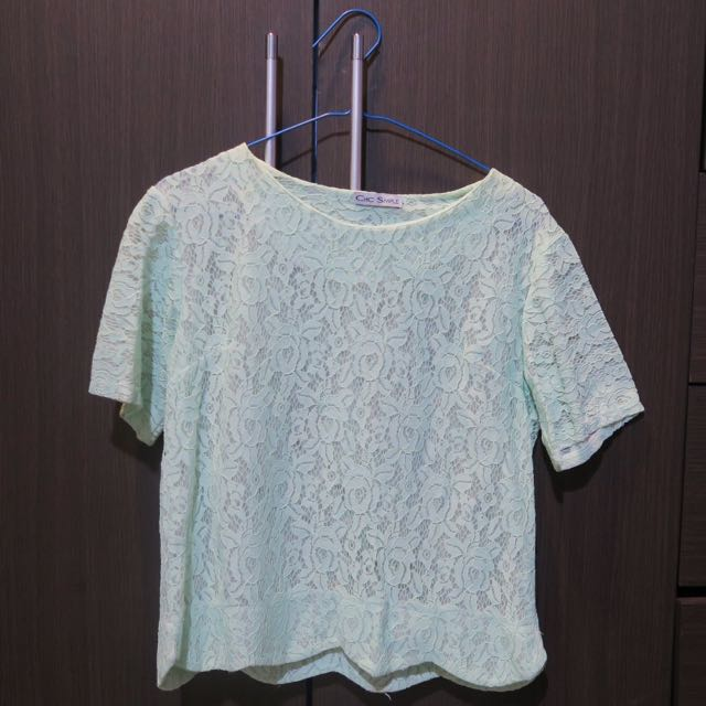 'Chic Simple' Green Lace Shirt