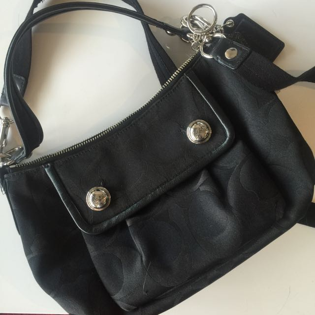 Coach Cross-body- Black With Red Interior