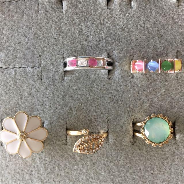 Designer Silver Rings w Crystals