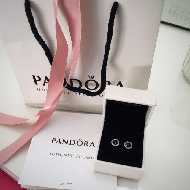 Diamond & Black Pandora Studs Earings