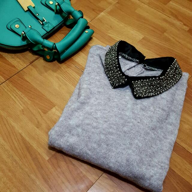 Gray soft-knitted & beaded neckline top