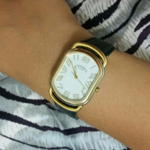 正品愛馬仕Hermes 金銀雙色復古薄型石英錶