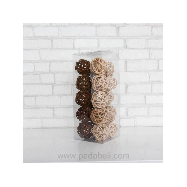 Lampu tidur rattan ball light natural brown
