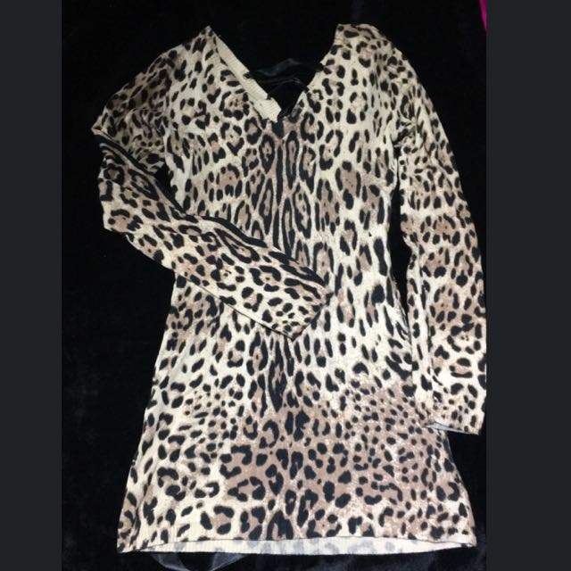Leopard Print Ally Long Sleeve Knit Dress M