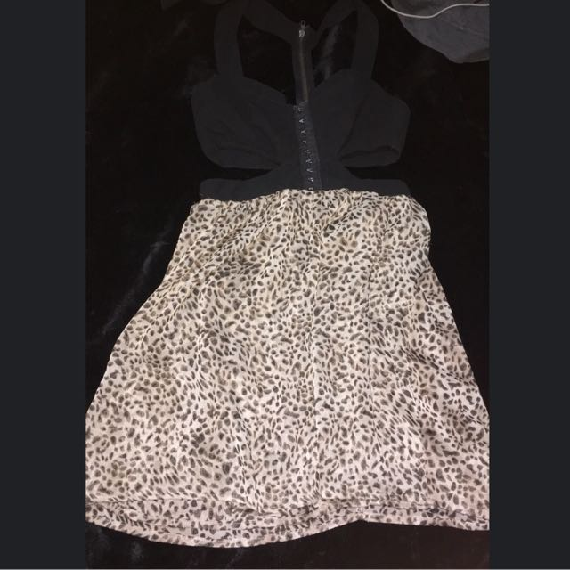 Leopard Print Cut Out Blurr Dress 10