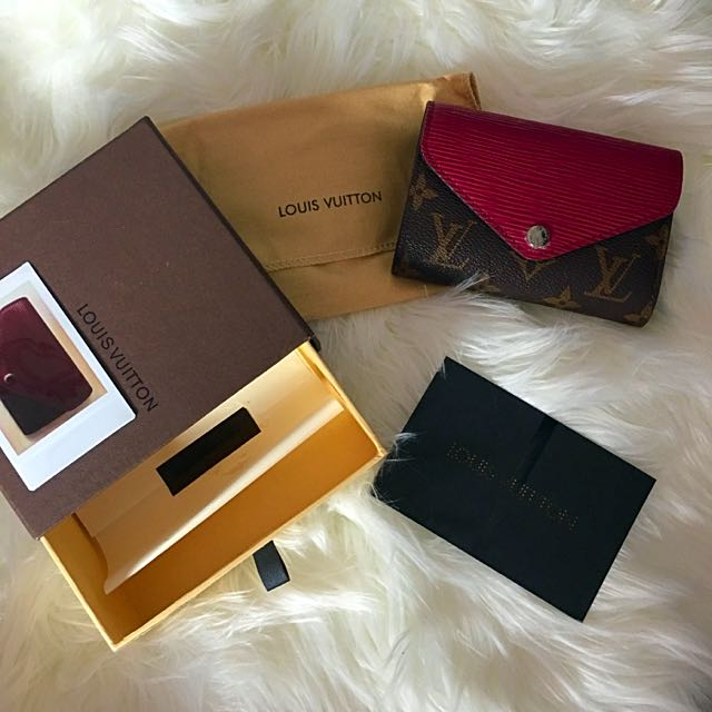 Louis Vuitton M60494 Replica Marie Lou Compact Wallet Fuschia Maroon Red Berry Monogram Brown Wallet Coin Notes Card Holder