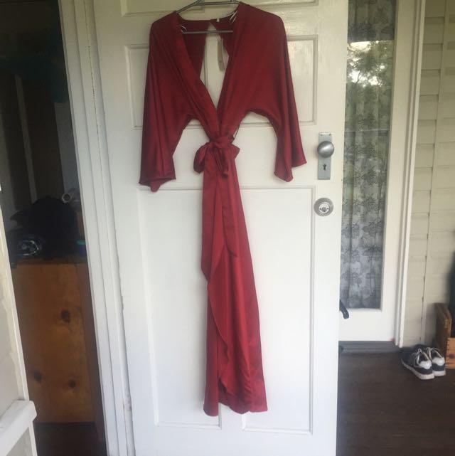 Maroon Kimono Dress