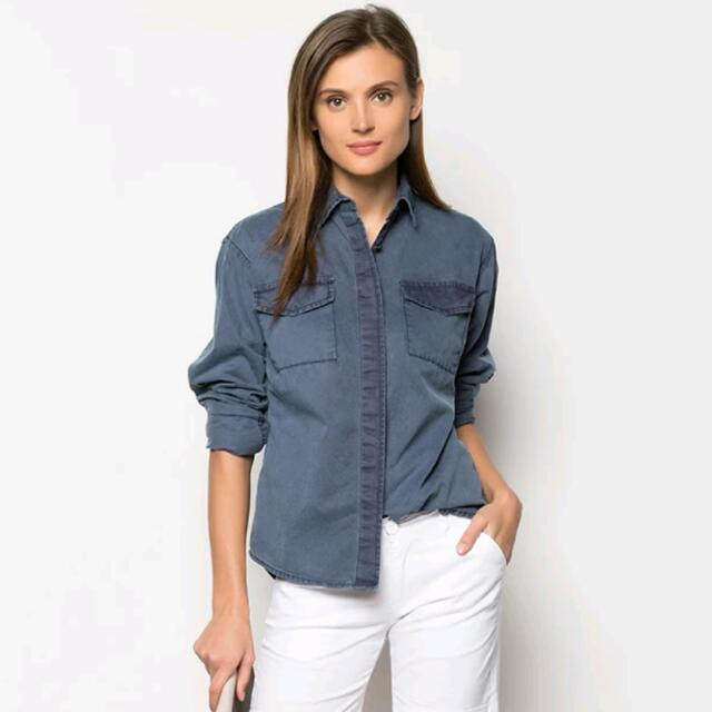 Navy Blue Button Down Pocket Shirt