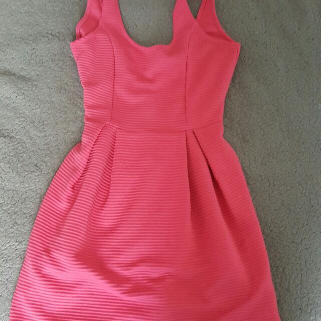 Pink Body Con Skater Dress