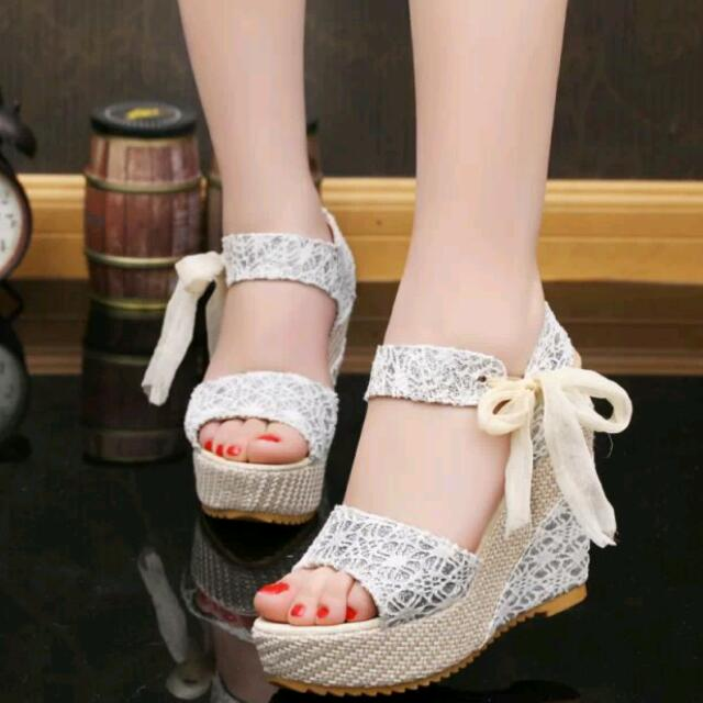 37c940967c60 PO Lace Mesh Ribbon Beach Open Toes Wedge High Heels Shoes