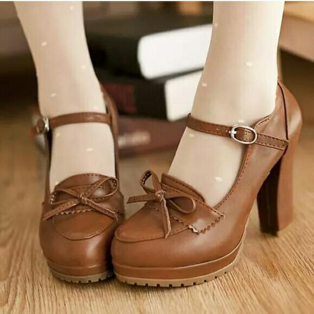 Princess Lolita Kawaii Cute Elegant Bowtie PU High Heel Shoes ... e7d5c3c3a27b
