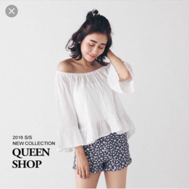 Queen Shop 一字領 平口 露肩 上衣