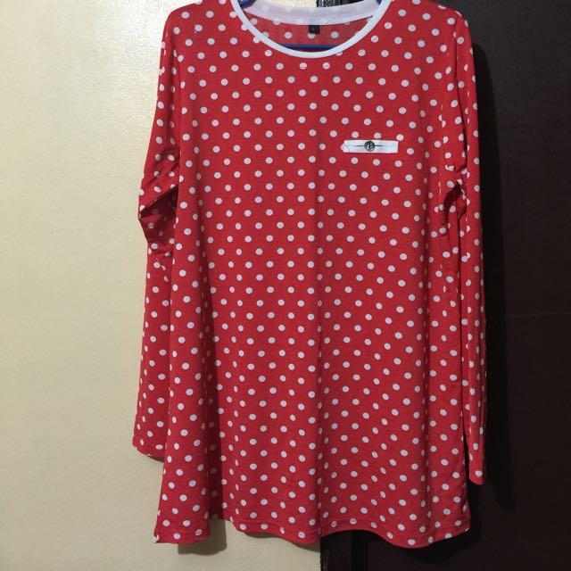 Red Polka Dots Long Sleeves Blouse