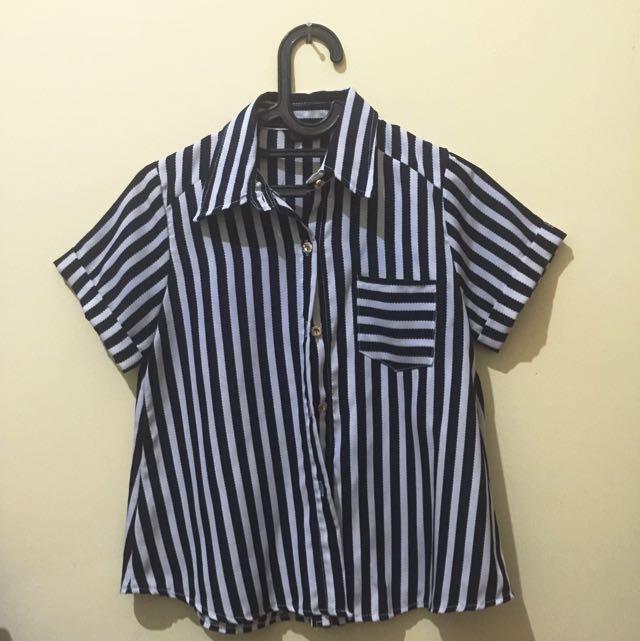 Striped Chiffon Blouse (kemeja Kerja)