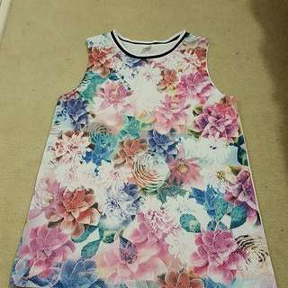 Size 12 Floral Printed Basketball Singlet
