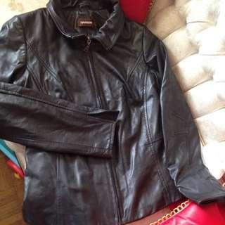 Danier Black Leather Jacket Med