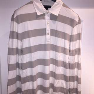 Banana Republic Grey & White Striped Shirt