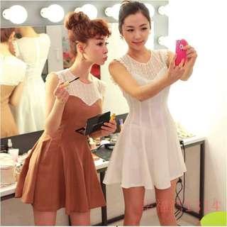 🚚 2016新款夏季女裝韓版蕾絲拼接鏤空氣質收腰顯瘦無袖圓領洋裝