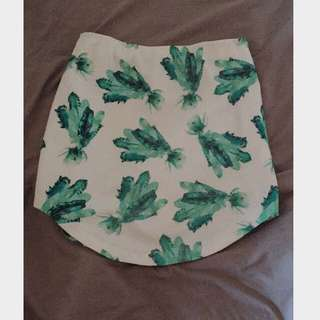 White Green Print Bodycon Skirt