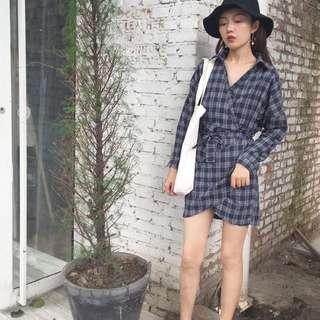 襯衫格子控綁帶連身洋裝