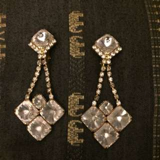 Vintage Crystal Clip On Chandelier Earrings
