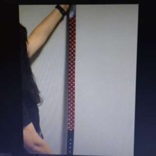 Black & Red Studded Pleather Belt