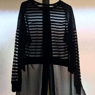 "PENDING ""The Pin"" Mesh/ Transparent Stripy Shirt"