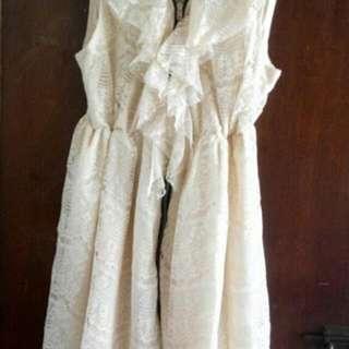 香檳色蕾絲鬆緊腰禮服洋裝