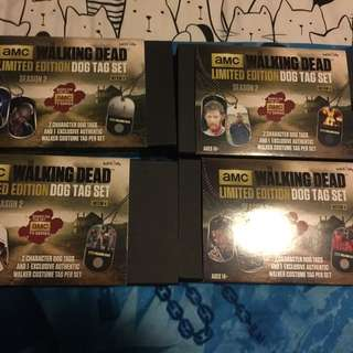 Limited Edition walking dead Dog Tags Complete Set