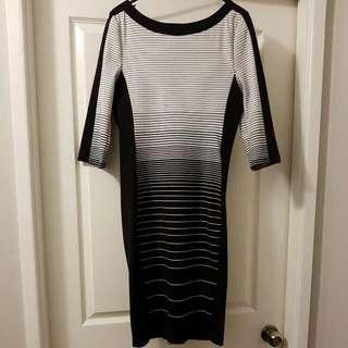 Portmans Black & White Striped Bodycon Dress