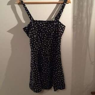 Womens Size S Black Floral Summer Dress