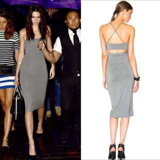 [PO DS10] Back Cut Out Spaghetti Strap Bodycon Midi Dress