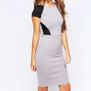 City Goddess Midi Dress with Contrast Panels UK Size 8