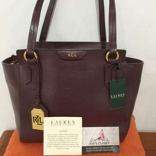 Preowned 100% Authentic Ralph Lauren Bag.Model Tate Modern Shopp-Sh Port/Cocoa Leather