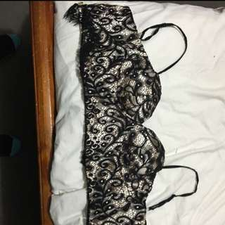 Black Lace Clubbing Crop Top Can Choose To Take Off Straps. Size 8