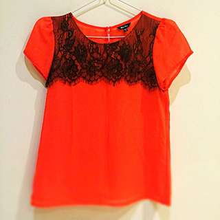 Orange Brokat Top