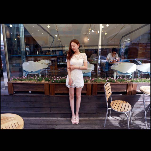 韓國2016新款ccdd高檔刺繡歐根紗洋裝 蕾絲花紋
