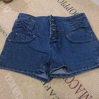 高腰牛仔短褲  S