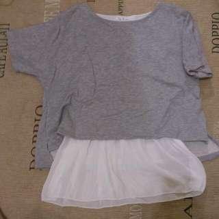 假兩件灰色×白色雪紡上衣