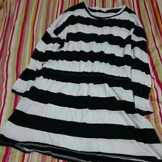 韓國黑白寬紋縮腰長衫 #一百元上衣