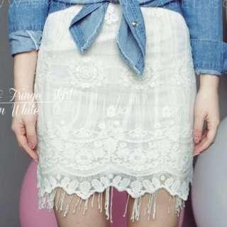 White Lacey Skirt Sz L