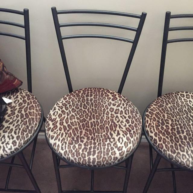 3 Leopard Bar Stools