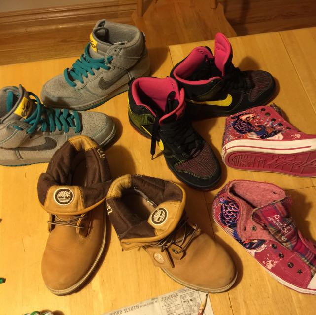 4 Pairs Of Shoes 2 Unworn Nike 6.0 Size 7.5 1 Pair Of Never Worn Brand New Ed Hardy Shoes And One Pair Of Slightly Used Timberland Boots