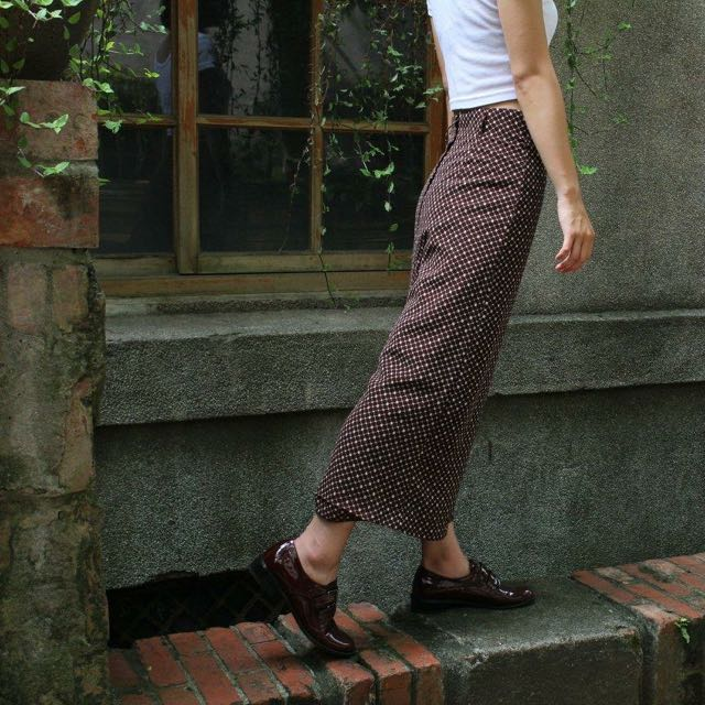 格子咖啡色長裙
