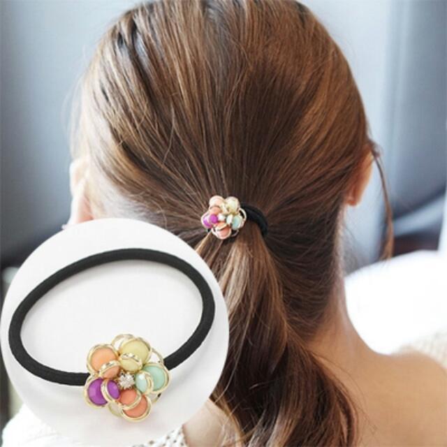 彩色花朵水鑽髮飾