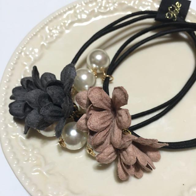 ✨全新✨韓系珍珠花朵氣質 髮圈