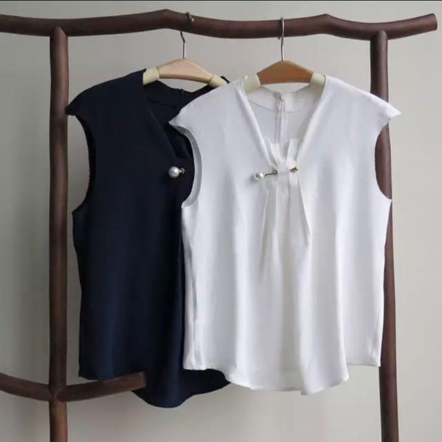 全新歐美款 珍珠鎖釦打摺真絲 絲質鬚邊無袖上衣 背心 襯衫