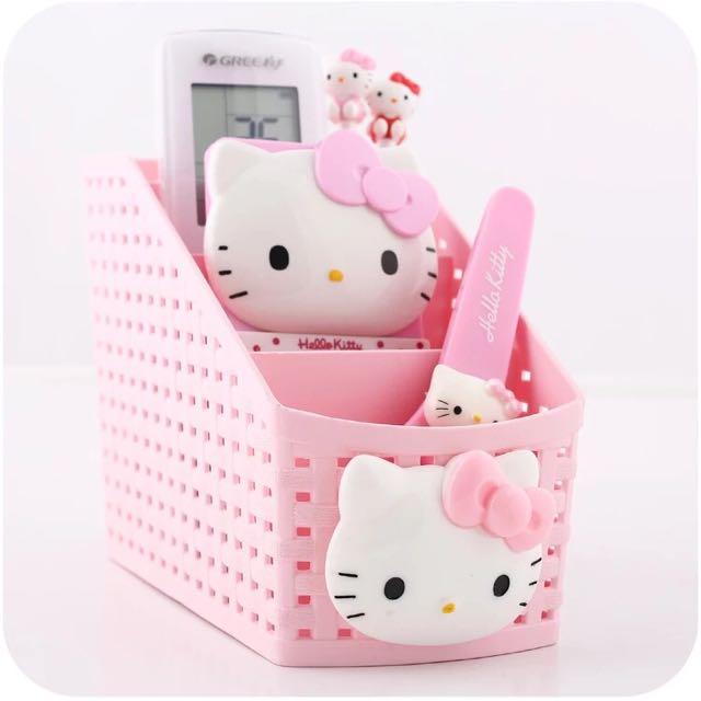 全新 現貨 KT Kitty 凱蒂貓 梳妝盒 收納盒 筆筒 桌面整理收納盒 收納籃 整理盒 置物盒 卡通