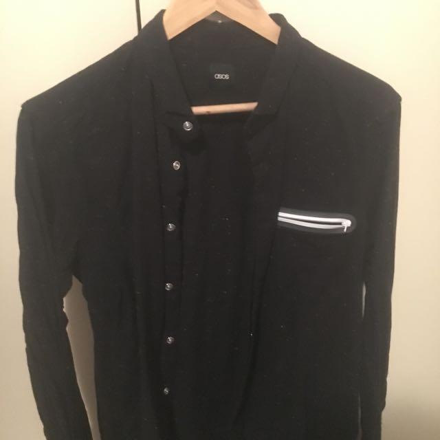 ASOS Black Button Up Shirt with Zip Pocket M