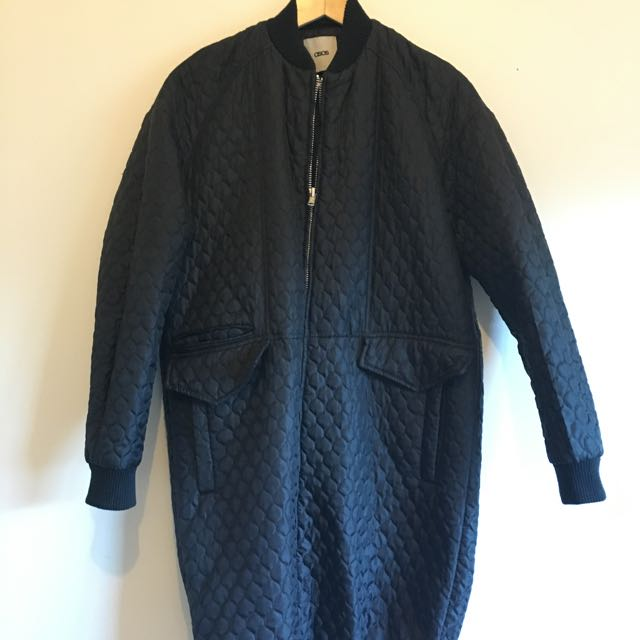 Asos Quilted Long Bomber Jacket Size 08